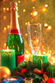 Christmas decoration and champagne. — Stock Photo