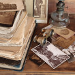 Stock Photo: Old books,postcards,photos.