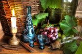Grapes.grapevine,decanter,glasses. — Stock Photo