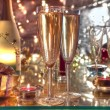 Champagne in glasses,candle lights and gifts. — Stock fotografie #7877334