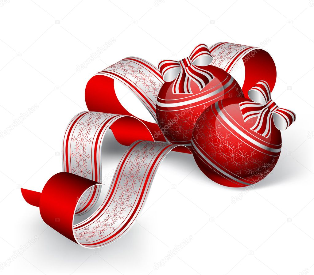 Two Christmas baubles and ribbon on white background  Stock Vector #6846504