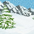 Vector de stock : Winter mountains