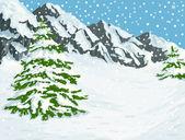 Kış dağlar — Stok Vektör