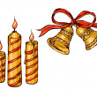 Christmas bells and candles — Imagen vectorial