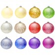 12 Christmas baubles - Stock Vector