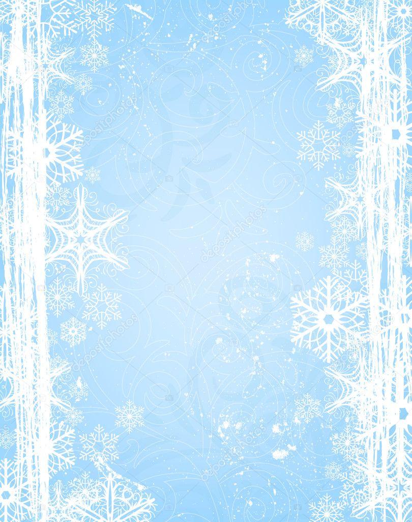 圣诞雪花边框与背景