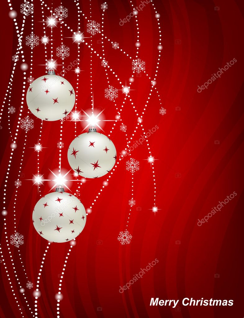 Christmas background with baubles and garlands — Stock Vector #7401118