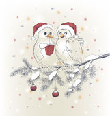 Two cute birds with Christmas hats — Stock Vector