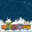 Stock Vector: Winter town