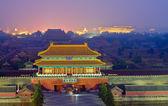 Night scene of the Forbidden City in the fog — Stock Photo