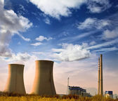 Landscape photo of industrial factory with power chimneys in blu — Stock Photo