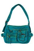 Blue-green fabric women bag — Stock Photo