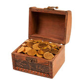 An old trunk with shiny coins — Stock Photo