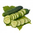 Cucumbers with green leaves isolated — Stock Photo