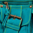 Pocket of blue-green fabric women bag — Zdjęcie stockowe