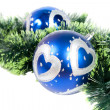 Christmas background with two blue balls — Stock Photo