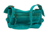 Blue-green fabric women bag isolated — Stock Photo