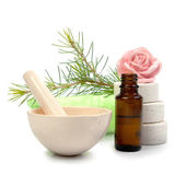 Bottle of fir tree essential oil and spa salt tablets isolated — Stock Photo