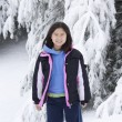 Korean Girl in the Snow — Stockfoto