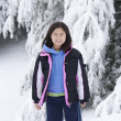 Korean Girl in the Snow — Stock Photo