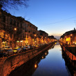 Navigli by night a Milano - Stock Photo