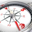 Compass and dollar, yen, euro, pound - Stockfoto
