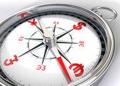 Kompass und dollar, yen, euro, pfund — Stockfoto