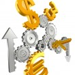 Royalty-Free Stock Photo: Money cogs euro yen dollar pound