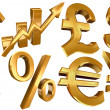Golden symbols euro dollar pound yen — Stock Photo