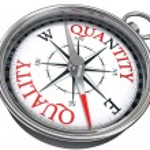 Quality versus quantity conceptual image with compass — Stock Photo