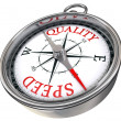 Quality speed contrary words conceptual compass — Stock Photo