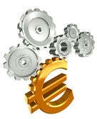 Euro golden symbol and cogs — Stock Photo