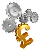 Golden pound symbol and cogs — Stock Photo