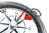 How to find heart love conceptual image with compass — Stock Photo