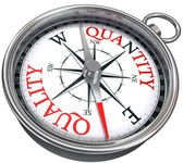 Quality versus quantity conceptual image with compass — Stock Photo