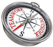 Teamwork versus outsider compass concept business — Stock Photo