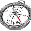 Logic vs magic concept compass — Stock Photo