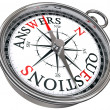 Answers vs questions concept compass — Stock Photo #7301641