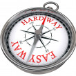 Easy versus hard way dilemma concept compass — Stock Photo