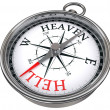 Heaven and hell concept compass — Stock Photo
