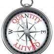 Quality versus quantity concept compass — Stock Photo