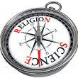 Science versus religion concept compass — Stock Photo