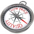 Stock Photo: Quality versus low price concept compass