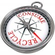 Recycle versus consume concept compass — Stock Photo