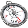 Spend versus save concept compass — Stock Photo