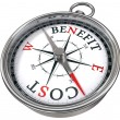 Benefit cost concept compass — Stock Photo