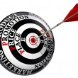 Four p marketing principles on target — Stock Photo