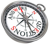 Answers vs questions concept compass — Stock Photo