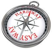 Easy versus hard way dilemma concept compass — Stock Photo