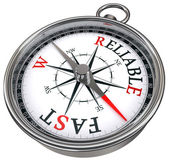 Fast vs reliable concept compass — Stock Photo